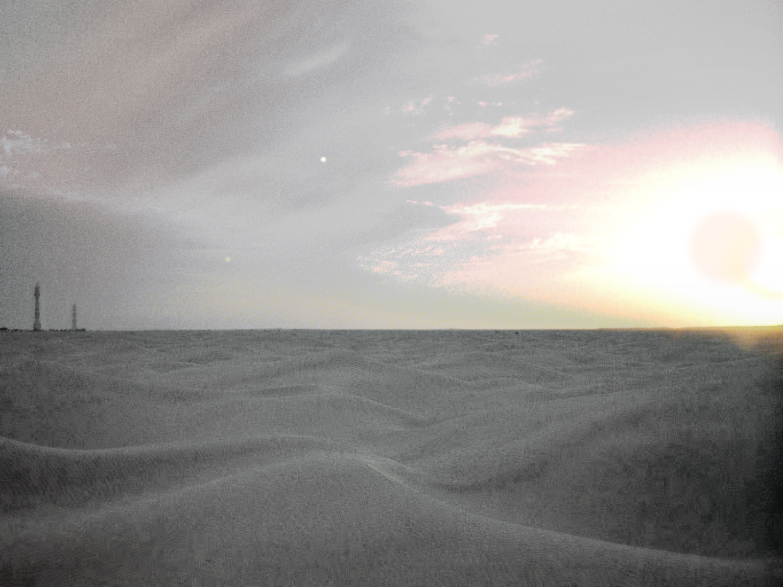 Conus surface.jpg - Sigit Ux Artor (Arcturu) rises over the snowy wastes of the Core World  Conus . On the horizon can be seen the massive towers of Coral Administrator Of Currencies complex.